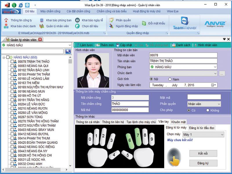 Tính năng phần mềm chấm công Ronald Jack 2200