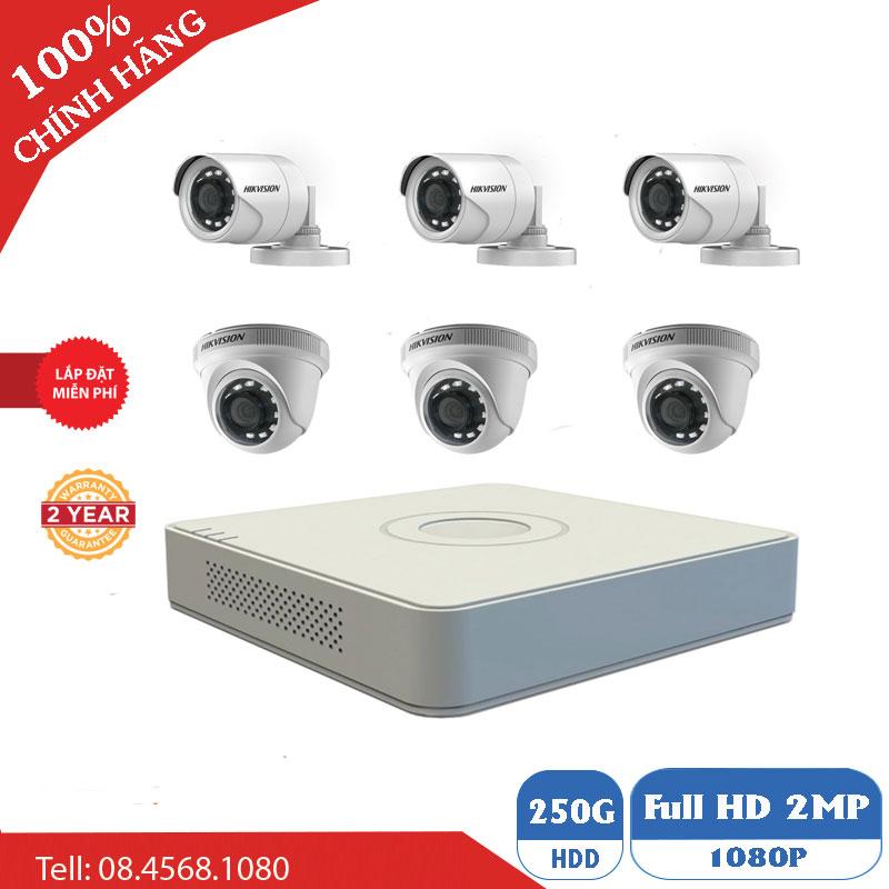 Lắp Đặt Trọn Bộ 6 Mắt Camera Hikvision 1M BEN-6010HK