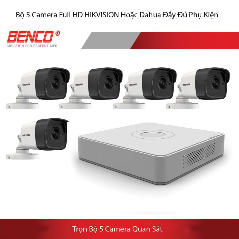 Giá trọn gói lắp đặt bộ 5 mắt camera